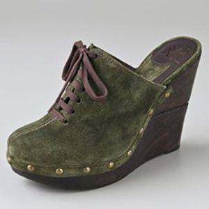 DVF Green Emerson Suede Wedge Clogs Shoes 6.5